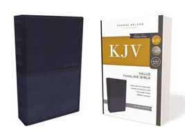 KJV, Value Thinline Bible, Leathersoft, Blue, Red Letter Edition, Comfort Print